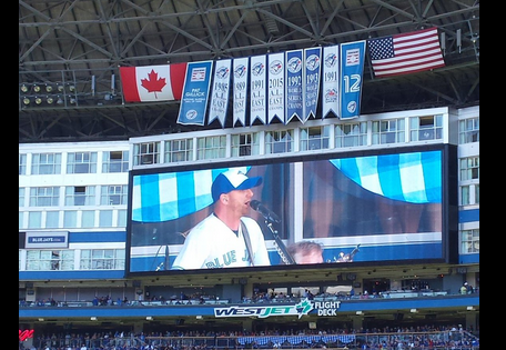 """""""Tim Hicks performs on the Blue Jays Country Day this past June at the Rogers Centre"""" SOURCE: Monique ?@MSylander on TWITTER"""
